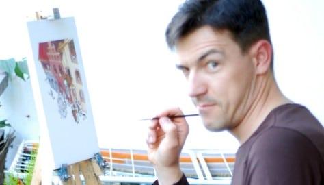 Wojtek Nawrot maluje